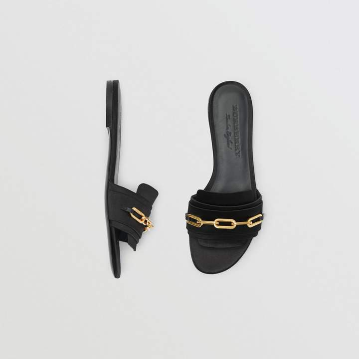 Burberry Link Detail Satin and Leather Slides