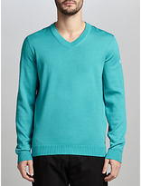 Hugo Boss Boss Green Veeh_03 Water-repellent Virgin Wool V-neck Jumper, Open Blue