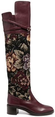 L'Autre Chose Floral Print Leather Boots