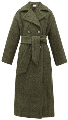 Ganni Belted Double-breasted Wool-blend Coat - Womens - Khaki