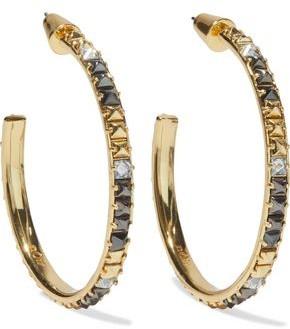 Noir 14-karat Gold-plated Crystal Hoop Earrings