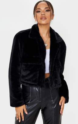 PrettyLittleThing Black Faux Fur Cropped Pocket Jacket