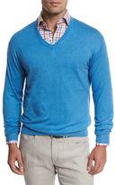 Peter Millar Crown Cotton/Silk V-Neck Sweater, Gray Sound