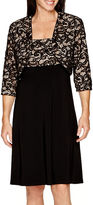 R & M Richards R&M Richards Long-Sleeve Lace Bolero Jacket Dress