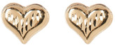 Candela 14K Yellow Gold Diamond Cut Heart Stud Earrings