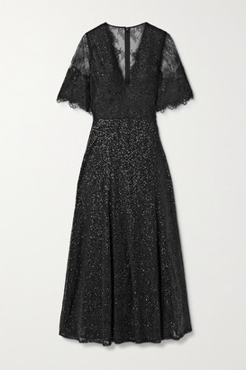 Costarellos Leigh Sequined Chantilly Lace Midi Dress - Black