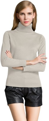 Romacci Winter Women Sweater Knitwear Turtle Neck Long Sleeves Ribbed Knitted Pullover Tops Beige