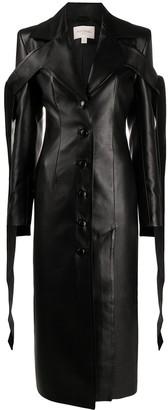 MATÉRIEL Tied-Straps Faux-Leather Coat