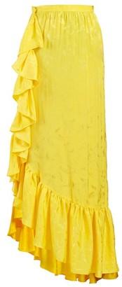 ATTICO The Asymmetric Jacquard Ruffle-skirt - Womens - Yellow