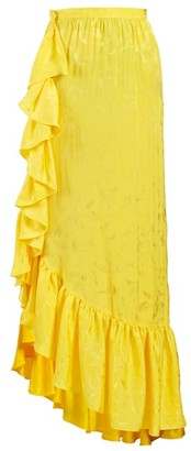 ATTICO Asymmetric Jacquard Ruffle-skirt - Yellow