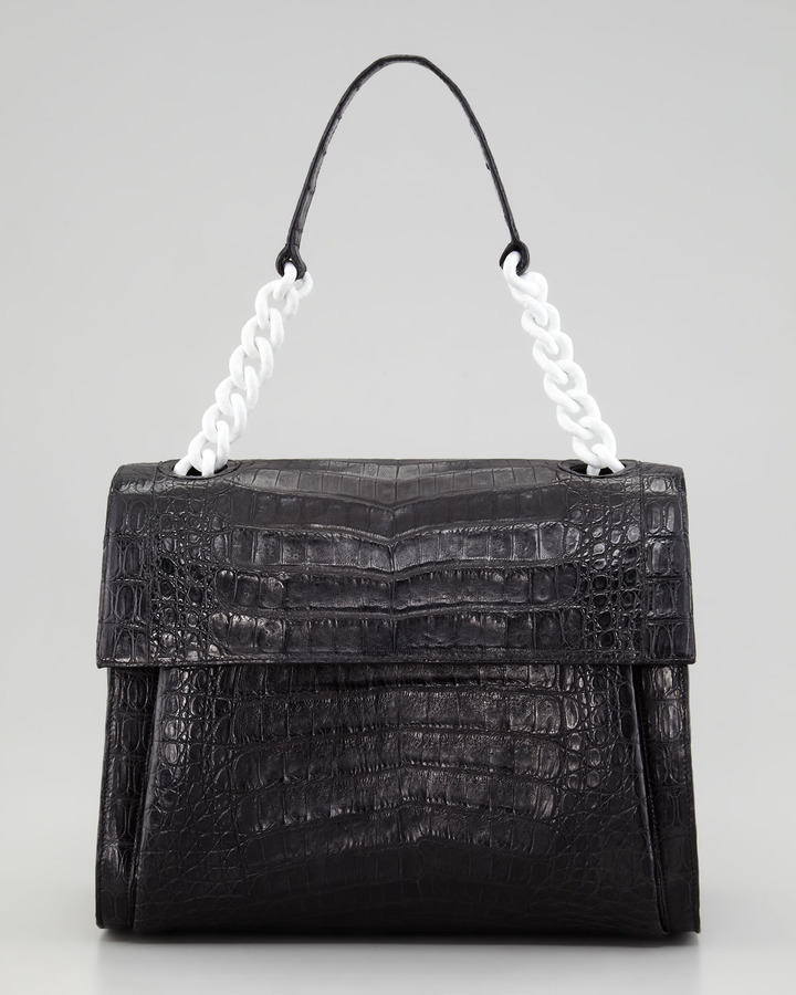 Nancy Gonzalez Crocodile Chain Shoulder Bag, Black/White