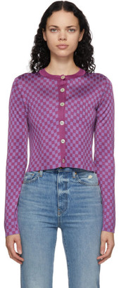 Calle Del Mar Purple Checkered Cardigan