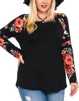Celeste Black Floral Raglan Top - Plus