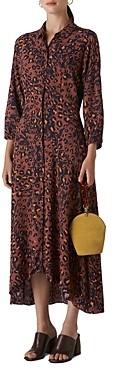 Whistles Amara Leopard Print Midi Shirt Dress