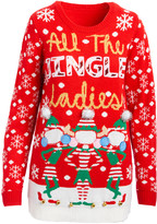 Derek Heart Women's Pullover Sweaters RED - Red 'All the Jingle Ladies' Light-Up Long-Sleeve Sweater - Juniors