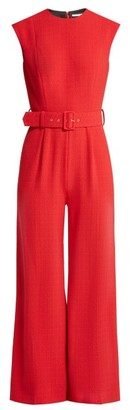 Emilia Wickstead Barbara Sleeveless Cloque Jumpsuit - Womens - Red