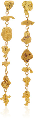 Lisa Eisner One of a Kind Gold Flat Nugget Earrings