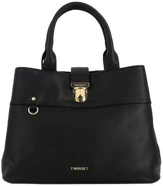 Twin-Set TWIN SET Tote Bags Large Tote Bag In Leather With Logo