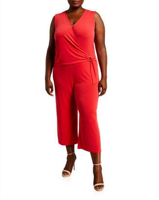 MICHAEL Michael Kors Size Wrap-Front Sleeveless Cropped Jumpsuit