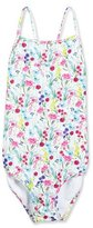 Oscar de la Renta Botanical Flora Cross-Back One-Piece Swimsuit, Multicolor, Size 4-14