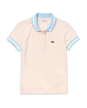 Lacoste Girls' Cotton Contrast Rib Polo Shirt - Little Kid, Big Kid