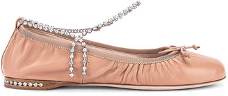 Miu Miu Leather Ballerina Flats in Nudo | FWRD