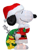 Asstd National Brand 28 Pre-Lit 2-D Peanuts Snoopy With Santa's Toy Bag Yard Art with Clear Lights