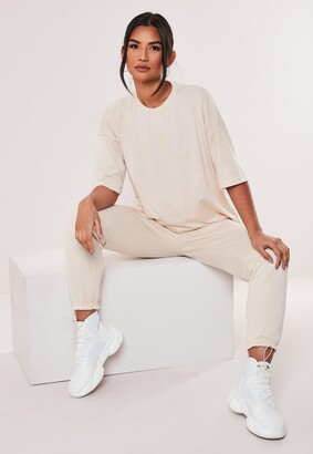 Missguided Petite Stone Co Ord Jersey T Shirt And Joggers Set