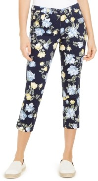 Charter Club Petite Floral Printed Bristol Capri Jeans, Created for Macy's