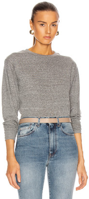 John Elliott Jersey Long Sleeve Cropped Tee in Heather Grey | FWRD