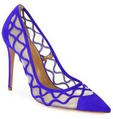 Aquazzura Kai Suede & Mesh Point-Toe Pumps