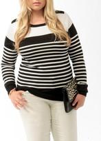 Forever 21 Plus Size Buttoned Multi-Stripe Sweater