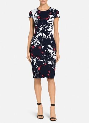 St. John Graphic Floral Jacquard Dress