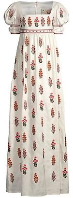 Agua Bendita The Wallflowers Banana Dahlia Embroidered Puff-Sleeve Maxi Dress