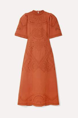 Sea Agatha Broderie Anglaise Linen And Cotton-blend Midi Dress - Orange