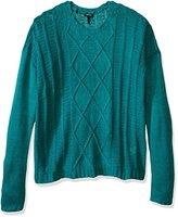 Buffalo David Bitton Women's Bullette Sequin Elbow Patch Pullover Sweater