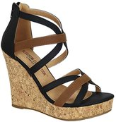 De Blossom Collection Fisola-73 Women's Strappy Two-Tone Cork Finish Wedge Sandal 10