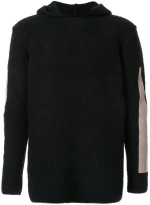Rick Owens hooded patchwork sweatshirt
