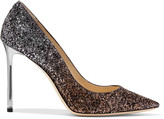 Jimmy Choo Romy Glittered Leather Pumps - Gunmetal