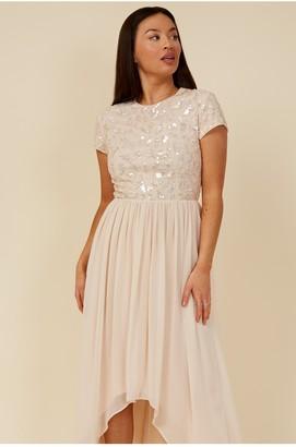 Little Mistress Bridesmaid Elise Nude Hand-Embellished Sequin Hi-Low Prom Dress