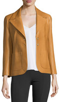 The Row Leather Two-Pocket Schoolboy Jacket, Butterscotch
