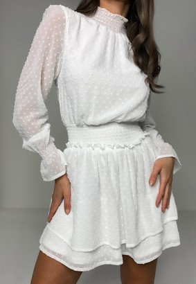 Missguided White High Neck Shirred Waist Dobby Dress