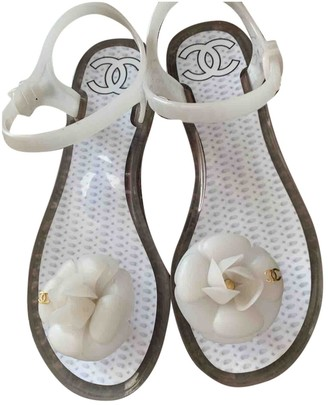 Chanel White Plastic Sandals