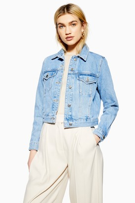 Topshop Womens Blue Fitted Denim Jacket - Mid Stone