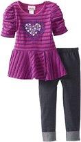 Little Lass Girls 2-6X 2 Piece Eyelash Heart Peplum Legging Set