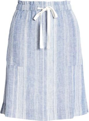 Caslon Textured Stripe Linen Blend Drawstring Skirt