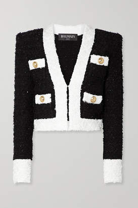Balmain Cropped Embellished Tweed Blazer - Black