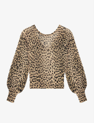Maje Leopard-print mohair and wool-blend jumper