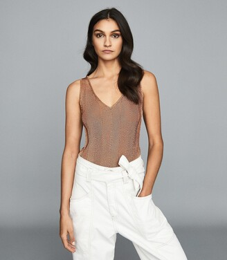 Reiss Alice - Metallic Knitted Top in Rose Gold