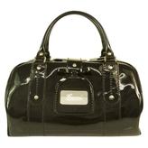 Gucci Black Patent Leather Bag Satchel Bowler Handbag Buckle Top Closure Doctor